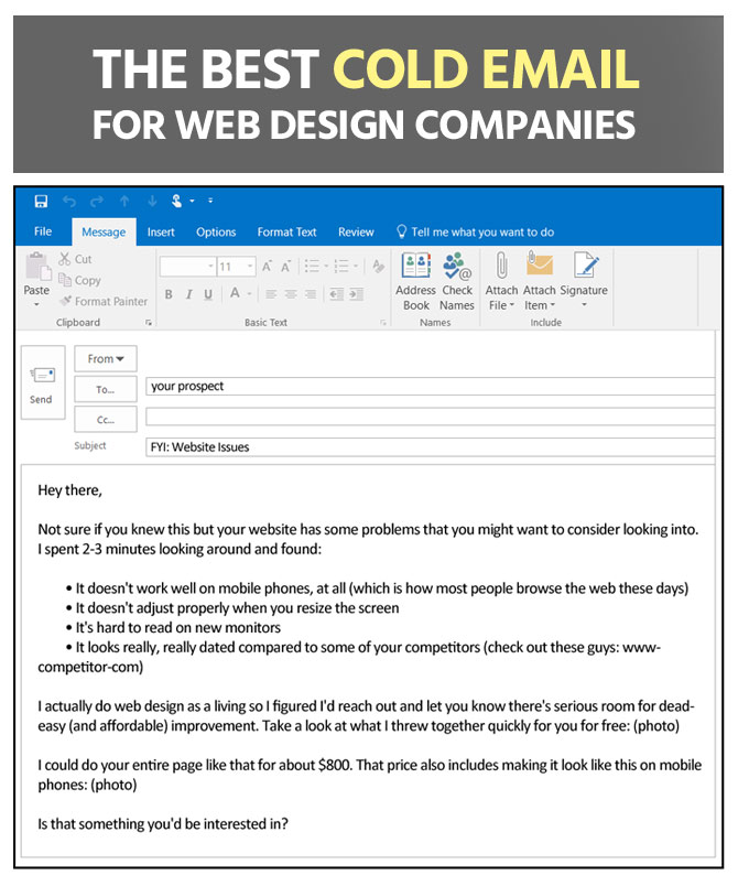 cold email for web design